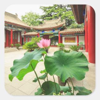 China-Pagoden-Innenraum Quadratischer Aufkleber