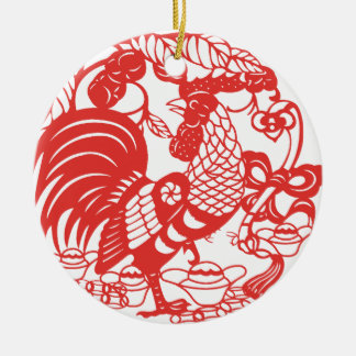 Chinese Papercut Hahn-Jahr 2017 Keramik Ornament