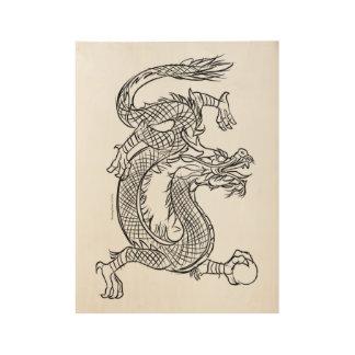 Chinesische Drache-Linie, die Skizze-Ostphantasie Holzposter