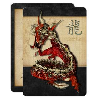 Chinesische rote Drache-Medium-Einladungen Karte