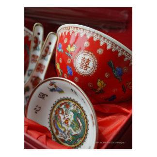 Chinesische Schüssel mit doppeltem Glück Postkarte