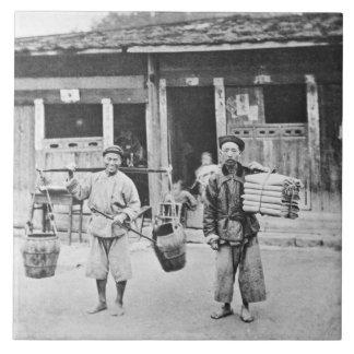 Chinesische Straßenverkäufer, c.1870 (b/w Foto) Fliese