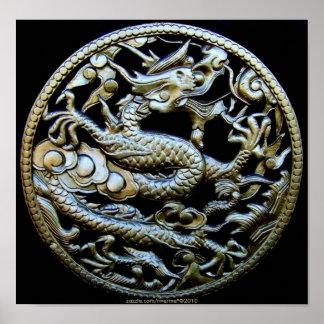 Chinesischer Bronzedrache/orientalischer Poster