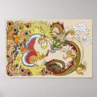 chinesischer Drache und Phoenix Poster