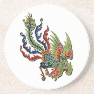 Chinesischer wohlhabender Pfau-Vintage asiatische Sandstein Untersetzer
