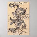 Chinesisches 19. Jahrhundert des japanischen Drach Poster