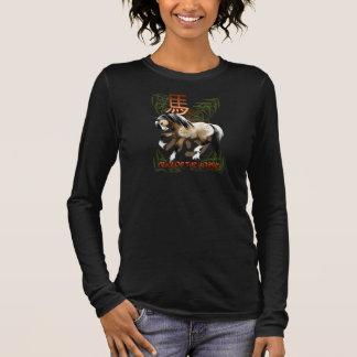 Chinesisches neues Jahr-Jähriges des Pferds Langarm T-Shirt