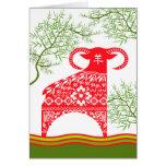 Chinesisches Neujahrsfest des RAMs, rote Grußkarte