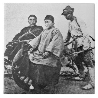 Chinesisches Rickshaw, c.1870 (b/w Foto) Keramikfliese