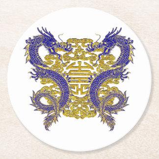 Chinesisches Symbol für Langlebigkeit und Drachen Runder Pappuntersetzer