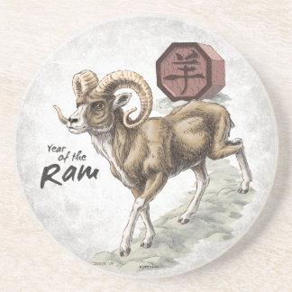 Chinesisches Tierkreis-Jahr der RAM-Kunst Getränkeuntersetzer