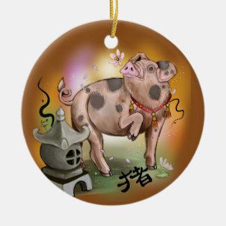 Chinesisches Tierkreis-Jahr des Schweins Keramik Ornament