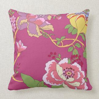 Chinoiserie-Blumenmuster-Mohnblumen-Rosa Kissen
