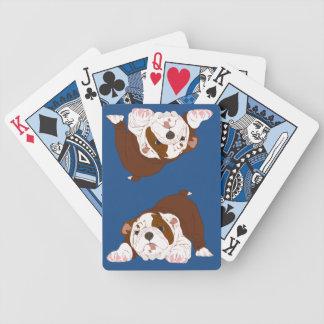 Chiot espiègle de bouledogue de chiot de tuf jeu de cartes