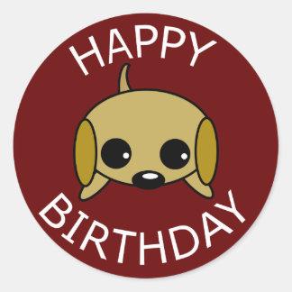 Chiot espiègle de joyeux anniversaire sticker rond