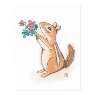 Chipmunk mit Blumen-Blumenstrauß Postkarte
