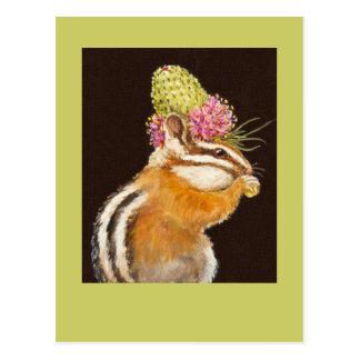 Chipmunk mit Graslandkleehut auf Postkarte