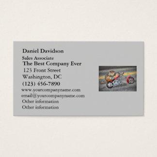 Chipmunk-Radfahrer, der ein Motorrad reitet Visitenkarte
