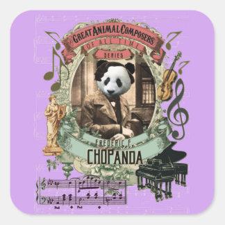 Chopanda Panda-lustiger großer Tierkomponist Quadratischer Aufkleber