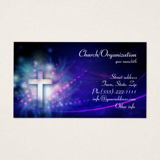 Christentum - blaue schimmernde QuerVisitenkarte Visitenkarte