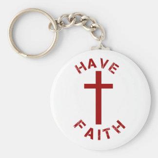 Christlich haben Sie Glauben-rotes Kreuz und Schlüsselanhänger