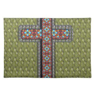 Christliche Fallgrün-Kreuz-Blumen Stofftischset