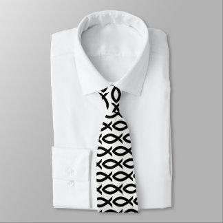 Christliche Fisch-Symbol-Schwarzweiss-Krawatte Krawatte