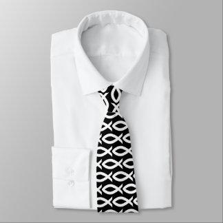 Christliche Fisch-Symbol-Schwarzweiss-Krawatte Personalisierte Krawatte