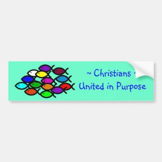 Christliche Fisch-Symbole - Regenbogen-Schule - Autoaufkleber