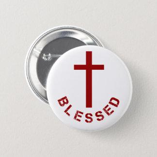 Christliche gesegnete rotes Kreuz-Typografie Runder Button 5,1 Cm