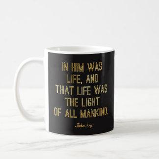 """Christliche Tassen - """"in ihm war Leben-"""" John-1:4"""
