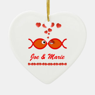 Christliche Valentine-Symbole - orange v1 Keramik Ornament