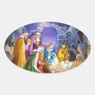 Christliche Weihnachtskarte Ovaler Aufkleber