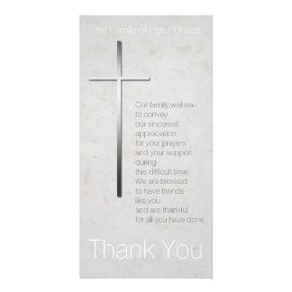 Christliches Kreuz 3 - Beileid danken Ihnen Photokarte