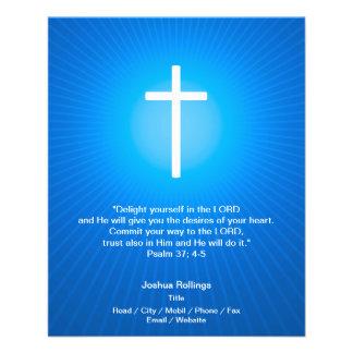 Christliches Kreuz auf blauem Hintergrund 11,4 X 14,2 Cm Flyer