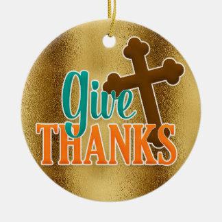Christliches Kreuz auf Gold geben Dank Keramik Ornament