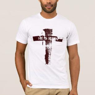 Christliches Kreuz Ostern WIRD ER GESTIEGEN T-Shirt