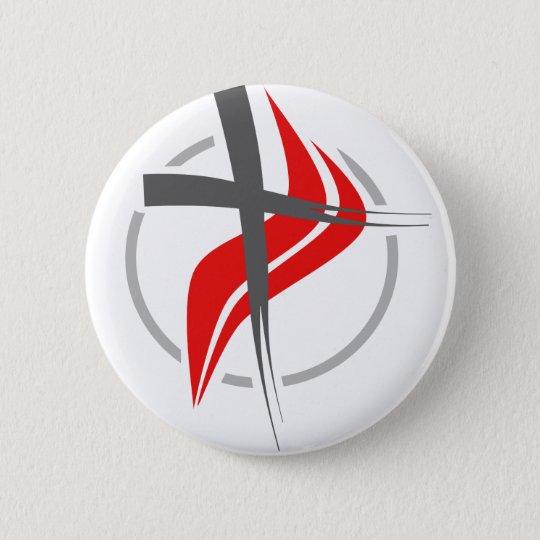 Christliches/Methodistenkreuz Runder Button 5,7 Cm