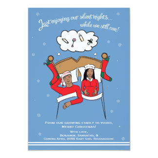 Christmas Card Pregnancy Announcement- African Am 12,7 X 17,8 Cm Einladungskarte