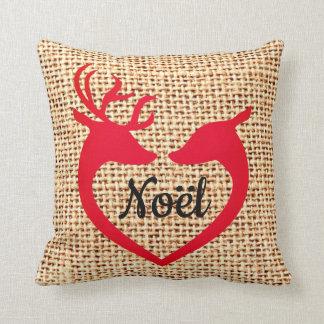 Christmas Deer Heart Burlap Jute Noel Pillow Kissen