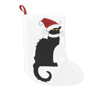 Christmas Le Chat Noir mit Weihnachtsmannmütze Kleiner Weihnachtsstrumpf