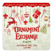 Christmas Ornament Exchange Party Invitation
