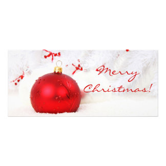 Christmas Red And White Merry Christmas Full Color Rack Card