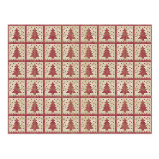 Christmassy Rot gestricktes Muster Postkarte