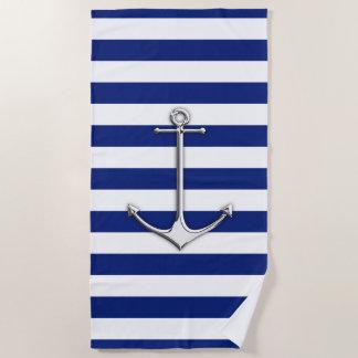 Chrom-Anker auf Seemarine-blaue Streifen-Druck Strandtuch