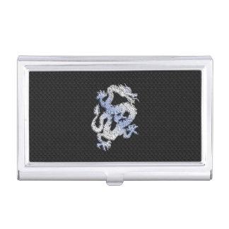 Chrom-Art-Drache auf schwarzem Visitenkarten-Schatulle