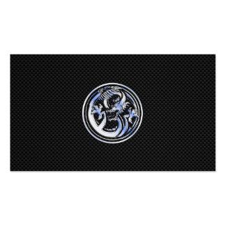 Chrom-Drache-Wappen auf Kohlenstoff-Faser-Druck Visitenkarten