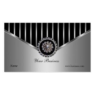 Chrom-silberner schwarzer Streifen-elegantes Visitenkarten Vorlagen