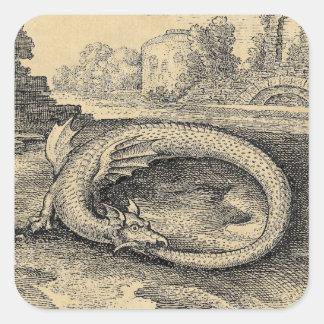 Chrysopoeia Ouroboros Schlange von Kleopatra Quadratischer Aufkleber