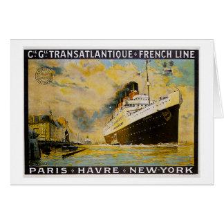 Cie. Gle. Transatlantique Kreuzfahrt-Vintage Reise Karte